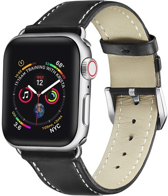 Posh Tech Cow Leather 42mm/44mm Apple Watch Band Series 1, 2, 3, 4, 6 - Black