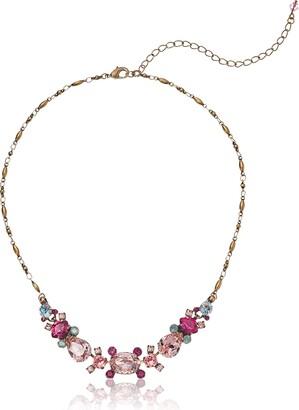 Sorrelli Womens Radiant Sunrise Navette Clustered Half Line Necklace