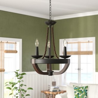 Bay Isle Home Craftsbury 3-Light Candle Style Empire Chandelier with Wood Accents
