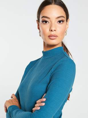 Very Ribbed Turtle Neck Top - Teal