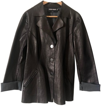 Emporio Armani Brown Leather Leather Jacket for Women