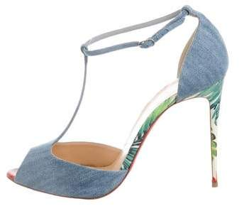 check out 59da0 c828f Denim Peep-Toe Ankle Strap Pumps