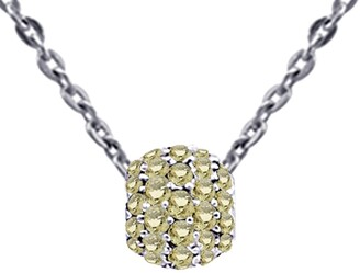Cubic Zirconia Sterling Silver Round Short Pendant by Orchid Jewelry