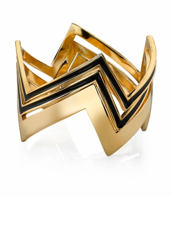 House Of Harlow Gold Three Stack Bangle in Black