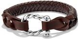David Yurman Maritime Leather Woven Shackle Bracelet in Brown