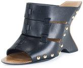 Tom Ford Leather Curve-Heel Clog Slide, Black