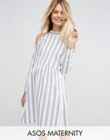 Asos Cold Shoulder Cotton Stripe Smock Dress