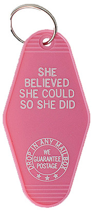 Sweet Water Decor Women's Key Chains Pink - Pink 'She Believed She Could So She Did' Key Chain