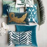 Silk Ikat Medallion Lumbar Pillow Cover, Teal