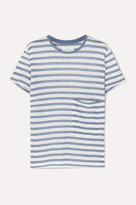 Current/Elliott The Drop Pocket Striped Linen T-shirt - Blue