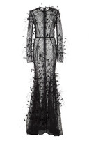 J. Mendel Feather Embroidered Gown