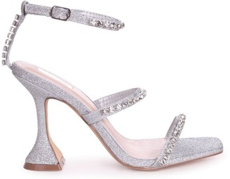 Linzi MILLIONAIRE - Silver Glitter Diamante Embellished Flared Heel With Square Toe