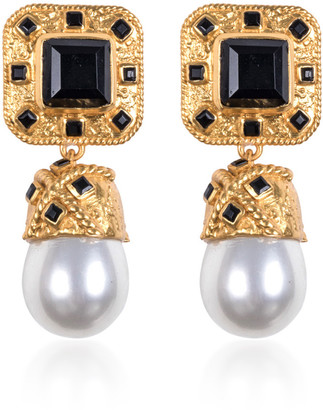 VALERE Poseidon Gold-Plated, Onyx And Pearl Earrings