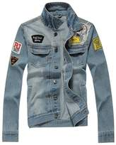 Partiss Men's Outerwear Fashion Frayed Faded Denim Jacket(Chinese 2XL,)