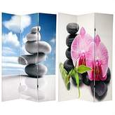 Oriental Furniture Simple Serene Zenlike Photography, 6-Feet Double Photo Print Canvas Room Divider, Classic Zen Stacked Rocks
