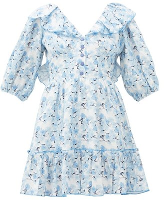 Gül Hürgel Open-back Floral-print Linen Mini Dress - Blue Print