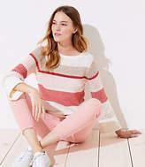 LOFT Petite Striped Stitched Sleeve Sweater