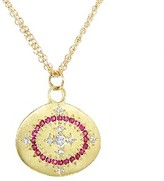 Adel Chefridi Heaven on Earth Pendant with Diamonds and Pink Sapphires - Yellow Gold