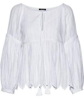 Love Sam Metallic Embroidered Cotton-blend Gauze Top