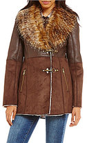 Jessica Simpson Faux-Shearling Mixed Media Faux-Fur Collar Coat