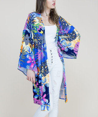 RQ Women's Kimono Cardigans BLUE - Blue Tropical Floral Kimono - Women