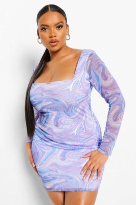 boohoo Plus Marble Mesh Square Neck Mini Dress