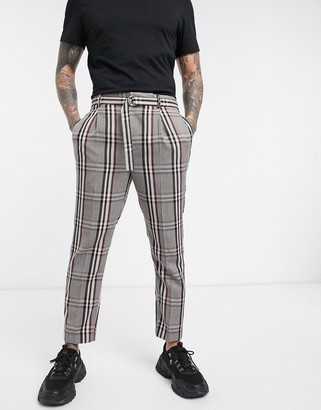 Asos DESIGN tapered crop smart pants in oversized check with belt in camel