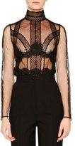 Dolce & Gabbana Tulle Long-Sleeve Sheer Blouse, Black