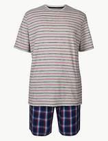 M&S Collection Pure Cotton Check & Stripe Pyjama Shorts Set