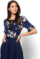 New York & Co. 7th Avenue - Pleated-Sleeve & Lace-Up Top - Navy - Floral