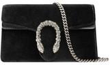 Gucci Super Mini Dionysus Velvet Shoulder Bag - Black