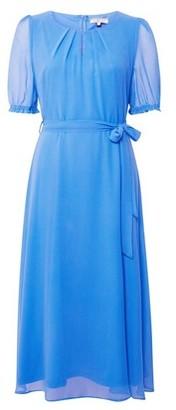 Dorothy Perkins Womens **Billie & Blossom Tall Blue Puff Sleeve Midi Skater Dress, Blue