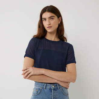 Warehouse SHEER SLEEVE WOVEN MIX TEE