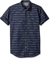 Calvin Klein Jeans Men's Short Sleeve Roll Tab Horizontal Space Stripe Button Down Shirt