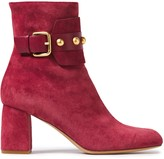 Red(V) Red(v) Buckled Studded Suede Ankle Boots