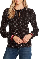 CeCe Candy Dot Stripe Detail Long Sleeve Blouse