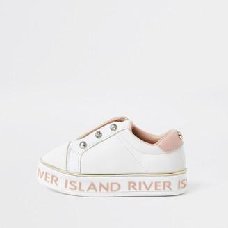 River Island Mini girls White diamante trainer