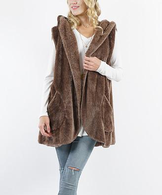 Lydiane Women's Outerwear Vests Mocha - Mocha Fuzzy Pocket Hooded Vest - Women