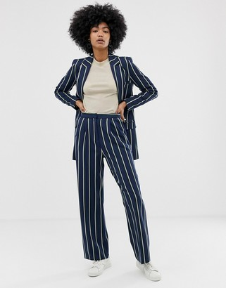 Asos Design DESIGN regatta stripe wide leg suit pants-Multi
