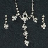 Gc Handcrafted Silver and Crystal Glam Dangle Necklace and Earrings Set