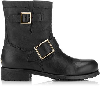 Jimmy Choo YOUTH Black Leather Biker Boots with Gold Buckles