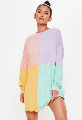Missguided Petite Pink Oversized Colorblock Sweater Dress