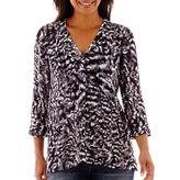 A.N.A a.n.a 3/4-Sleeve Smocked Shoulder V-Neck Blouse
