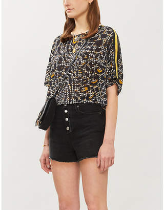 The Kooples Metallic dotted chiffon top