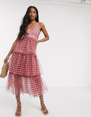 Forever U tiered midi dress in gingham