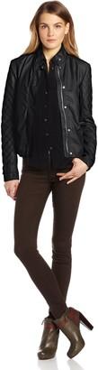 Kensie Women's Faux Leather Jacket Knit Sleeves