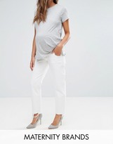 Asos FLORENCE Authentic Straight Leg Jeans in Off White with Dishevelled Hems With Under The Bump Waistband