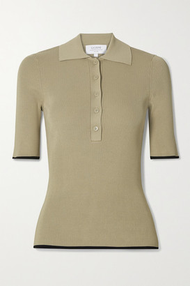 La Ligne Slinky Two-tone Ribbed-knit Polo Shirt