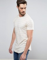ONLY & SONS Longline T-Shirt In Stripe With Curved Hem And Scoop Neck