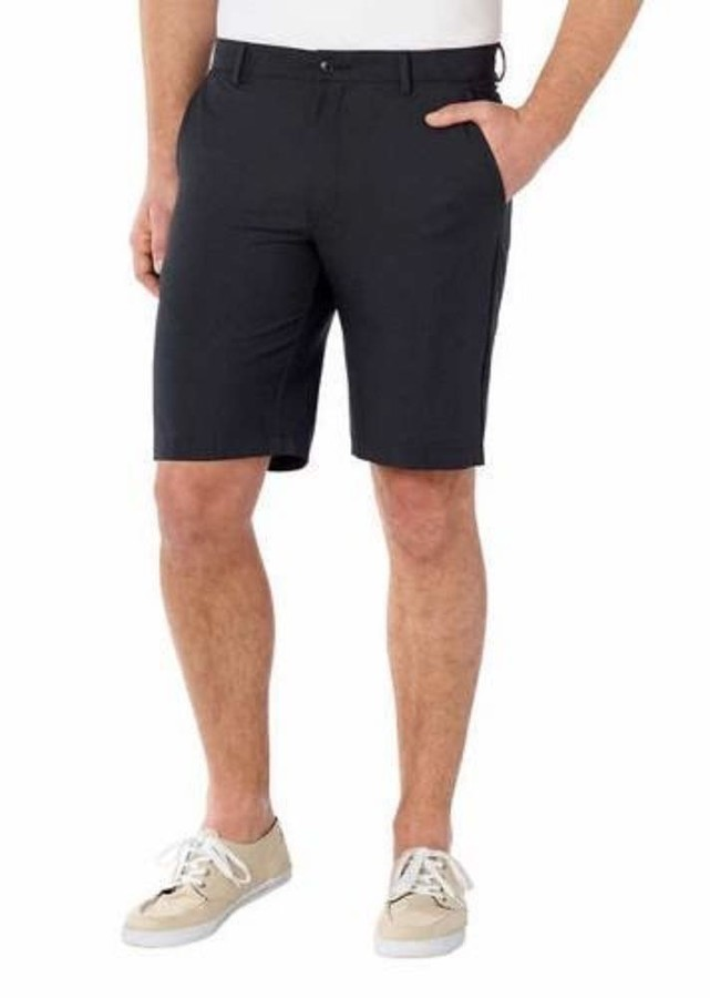 """Greg Norman Mens Ultimate Travel Golf Shorts Black Grey Heathered Stretch Flat Front Easy Care (36"""" Waist)"""